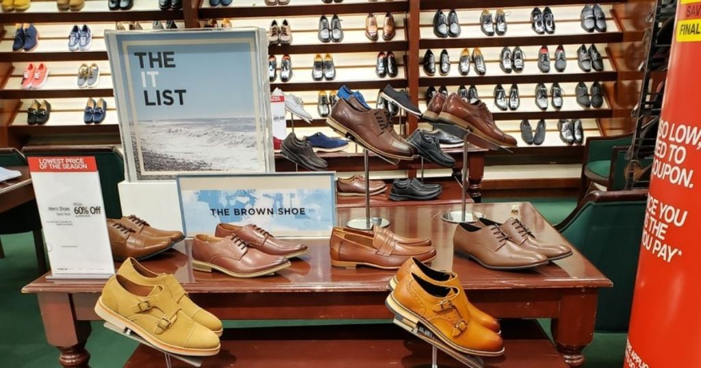 mens shoes on display in store