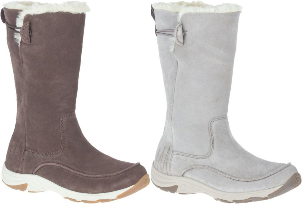 sepatu bot musim dingin cokelat tinggi dan sepatu bot musim dingin abu-abu tinggi
