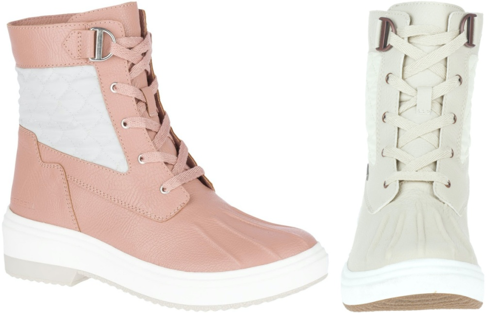 women's pink lace up boot and white lace up boot