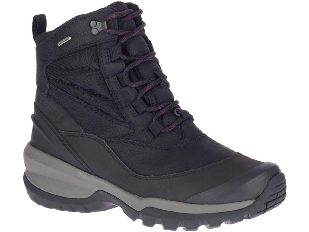 sepatu bot musim dingin hitam dan ungu wanita