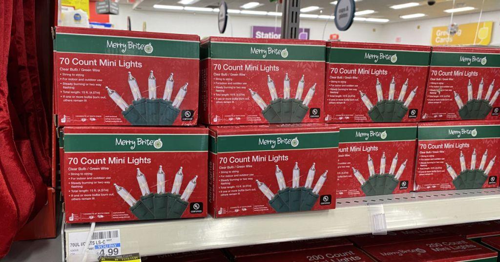 christmas lights on shelf
