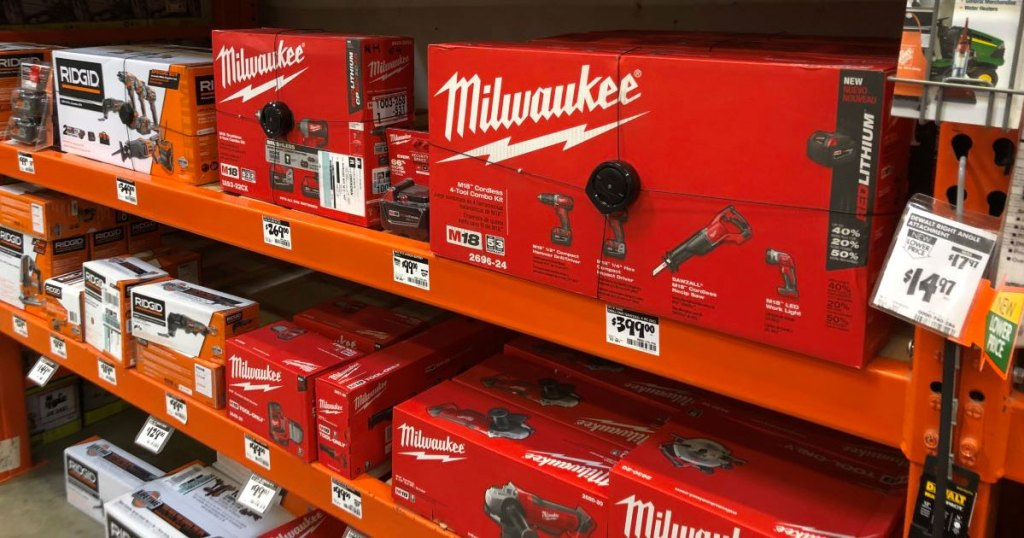 Milwaukee tool sets on orange Home Depot shelves
