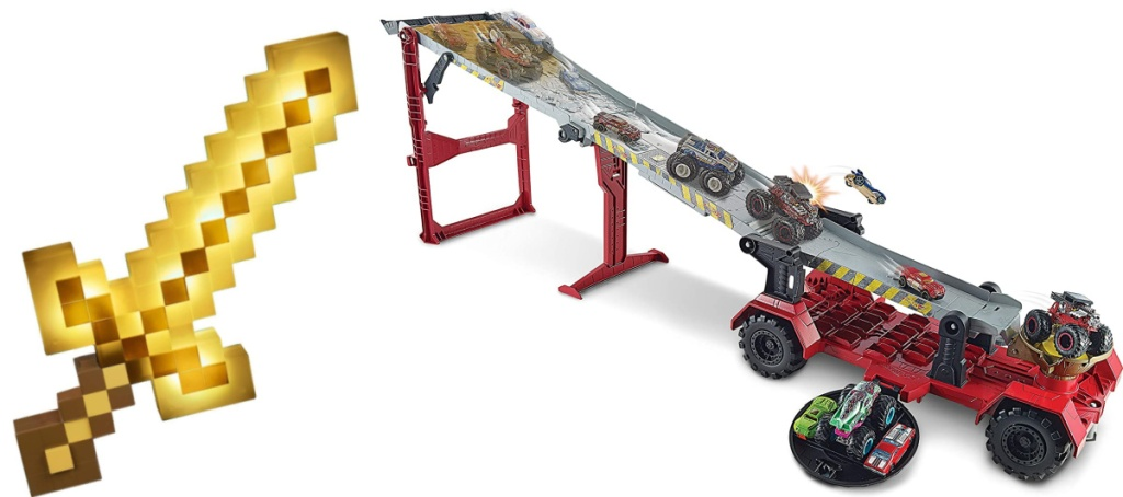Minecraft Light-Up Adventure Sword and Hot Wheels Monster Trucks Downhill Race & GO Play Set