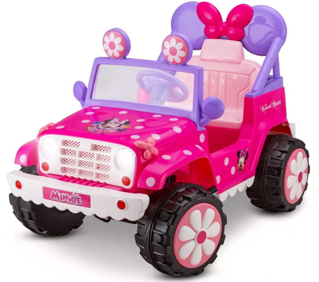 pink and purple kids minnie mouse jeep ride-on toy