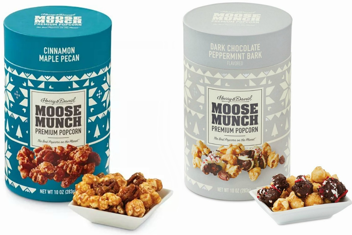 Two flavors of Moose Munch premium popcorn