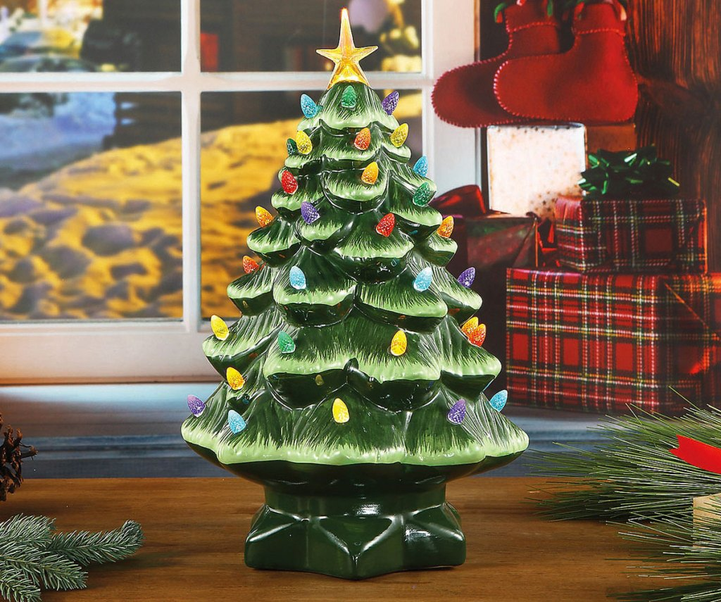 green ceramic christmas tree with multicolor light bulbs