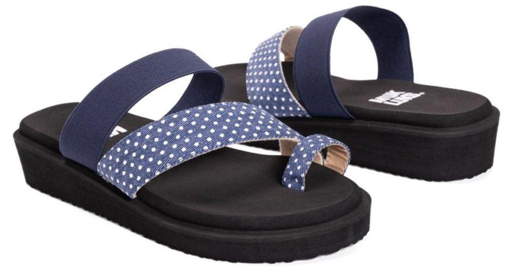 blue and white polka dot sandals