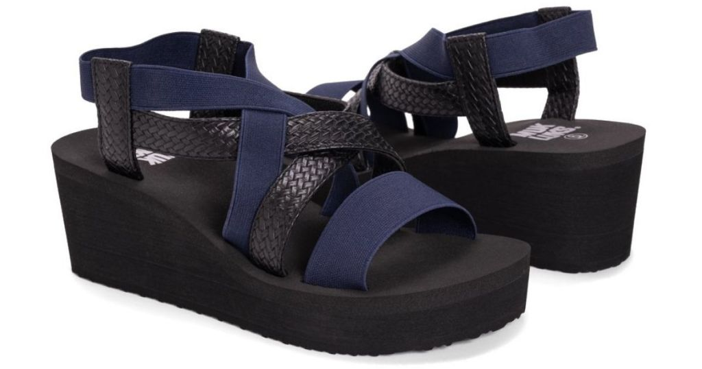 blue and black wedge sandals
