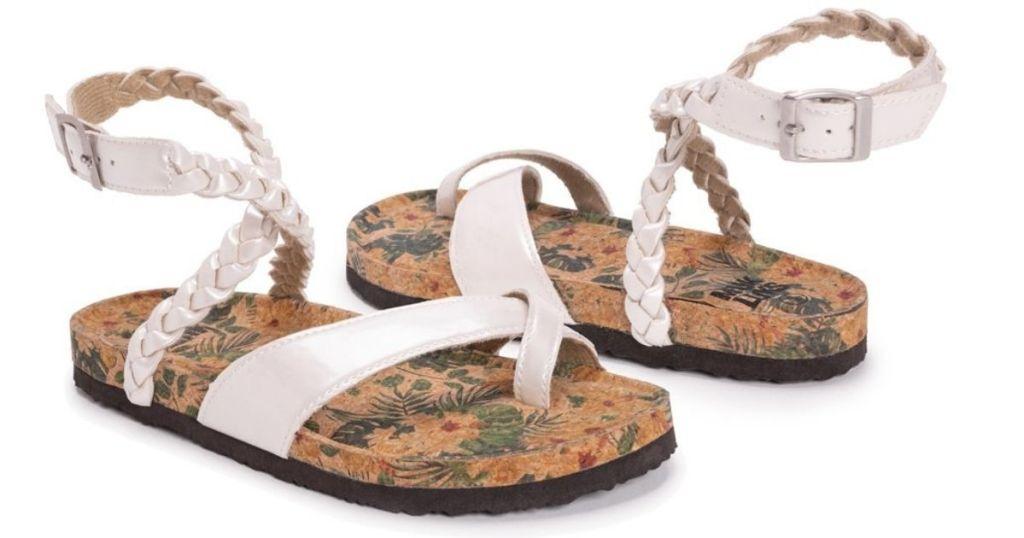 white braided sandals