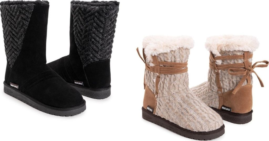 two pairs of women's Muk Luk boots