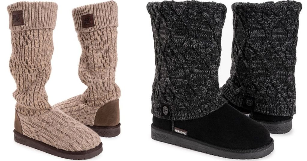 two pairs of Muk Luks boots