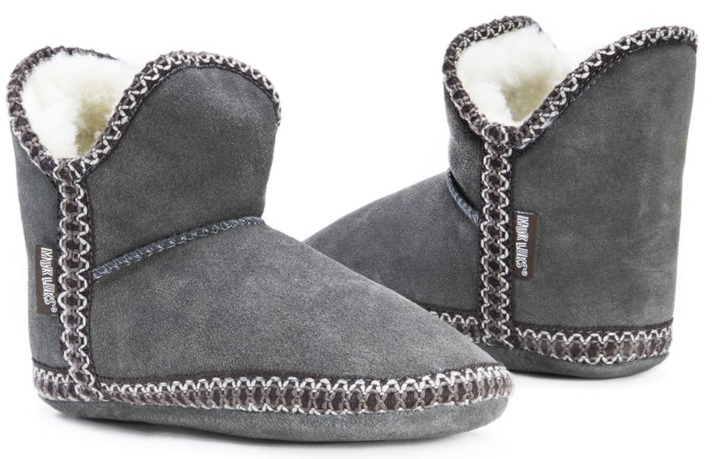 pair of grey slipper booties with thick stitching around the edges