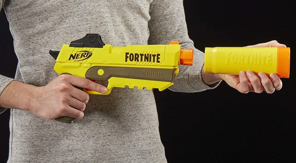 hands holding a NERF Blaster