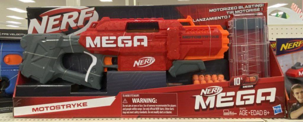 red toy blaster on store shelf