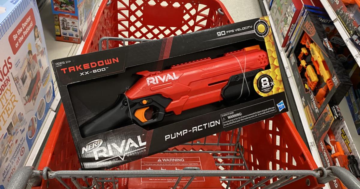 nerf gun in package in a target cart