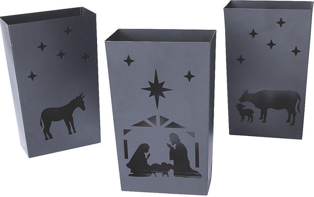 Three nativity scene metal luminaries