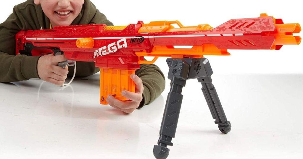 boy using MEGA NERF gun