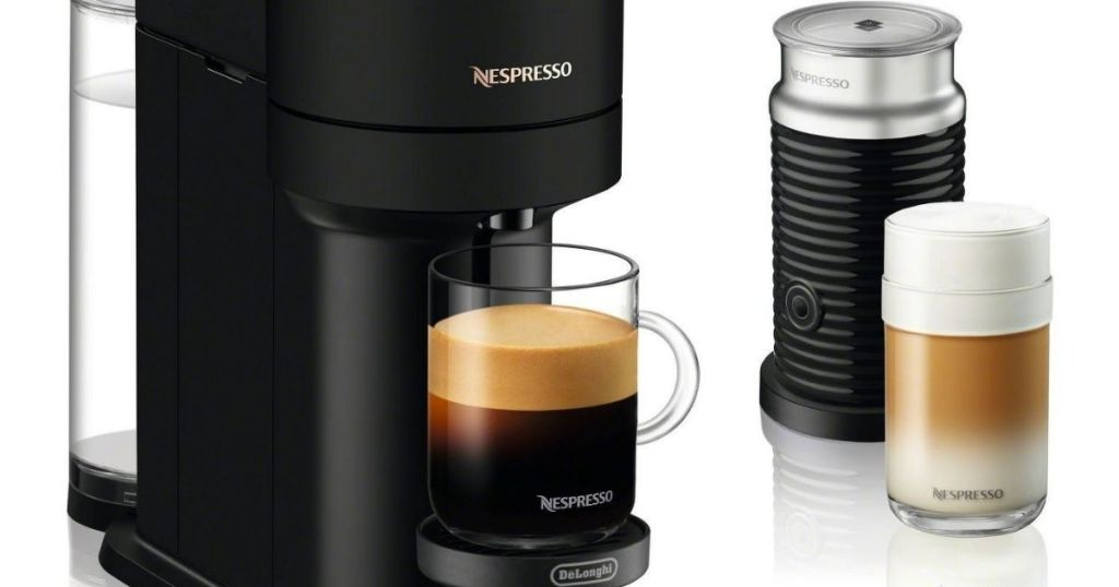 coffee and espresso maker with a frother next to it