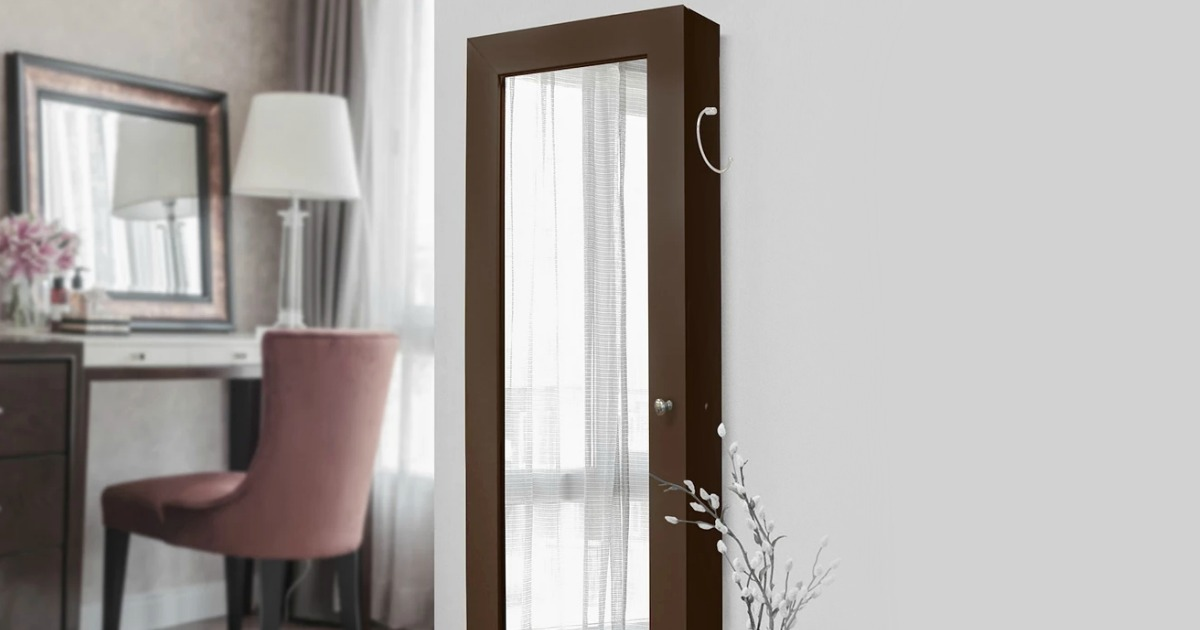 New View Gifts Jewelry Armoire on a bedroom wall