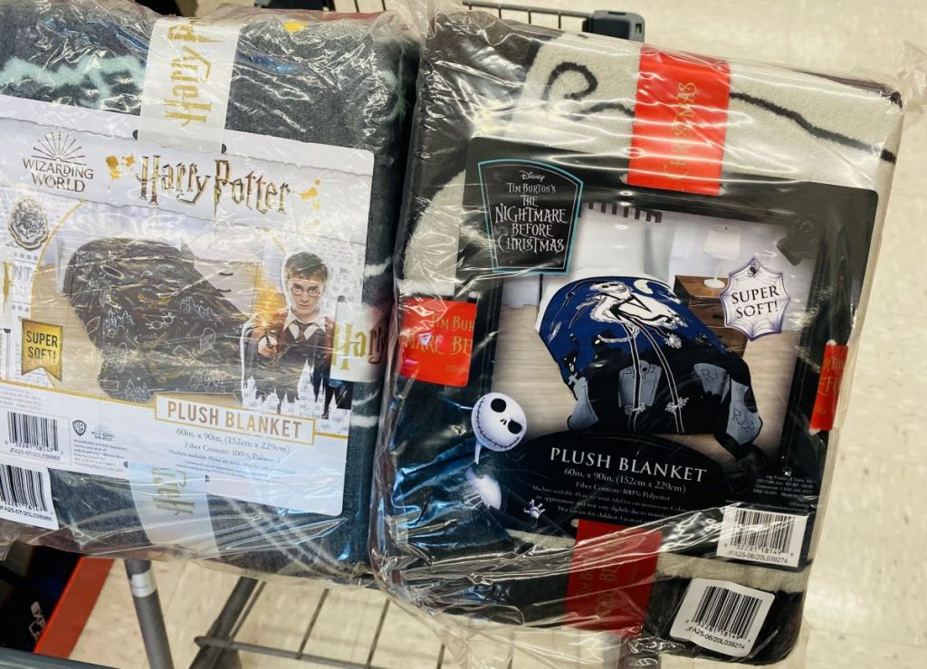 Harry Potter and Nightmare before christmas blankets on a cart