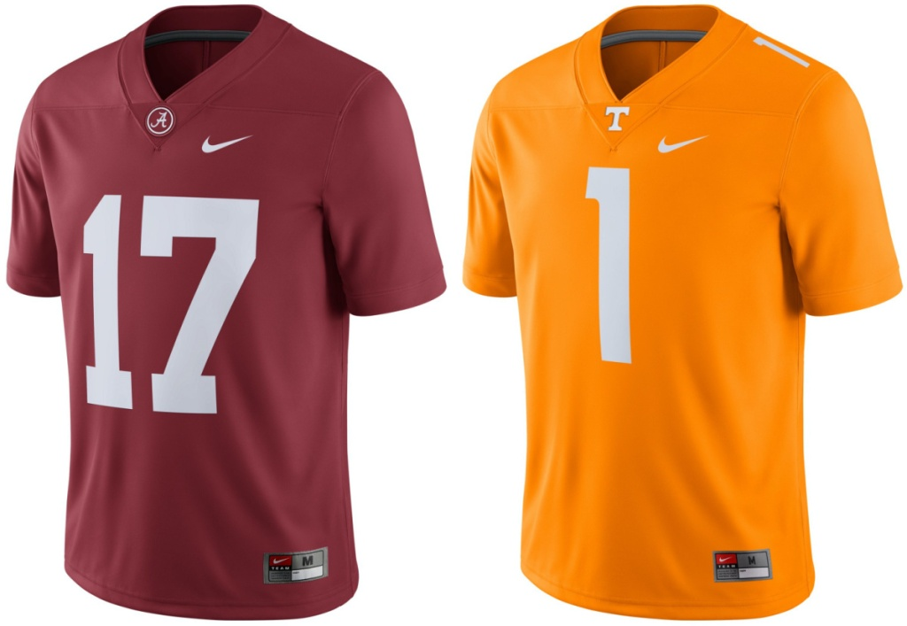 two college football jerseys