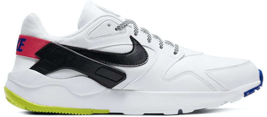 men's white sneaker white green, pink, and black accents