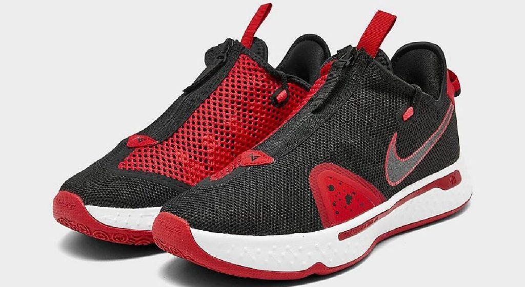 sepatu basket pria hitam dan merah