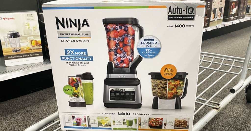 ninja blender system in it's box on a shopping cart at best buy