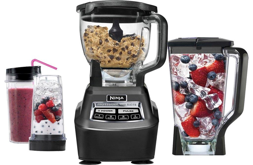 ninja blender system with blender jar, food processor jar, and two single serve blending cups