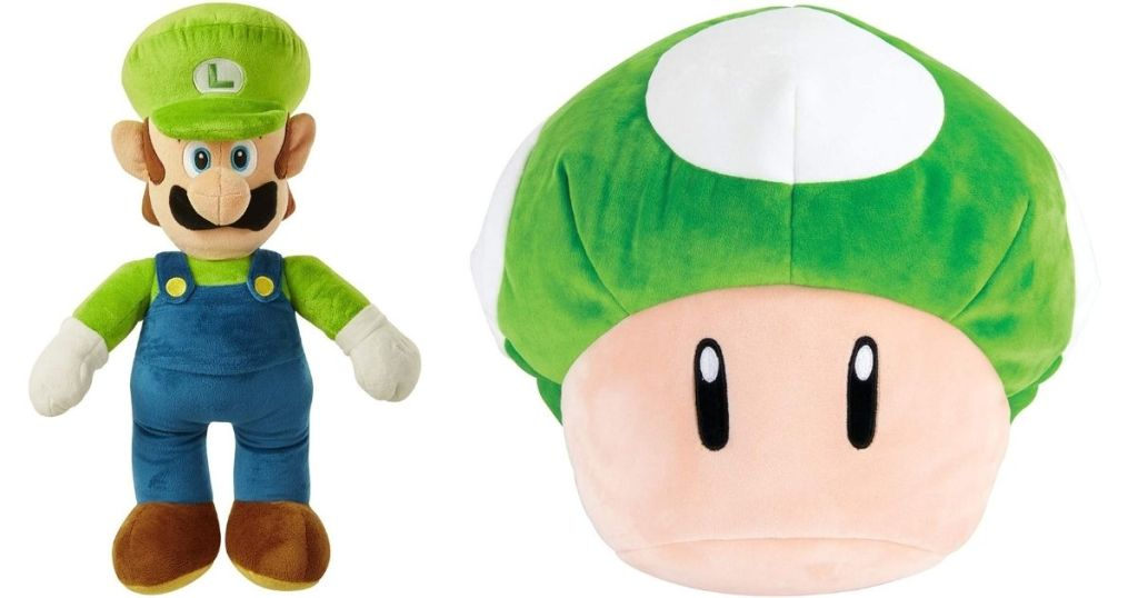 plush luigi and mushroom