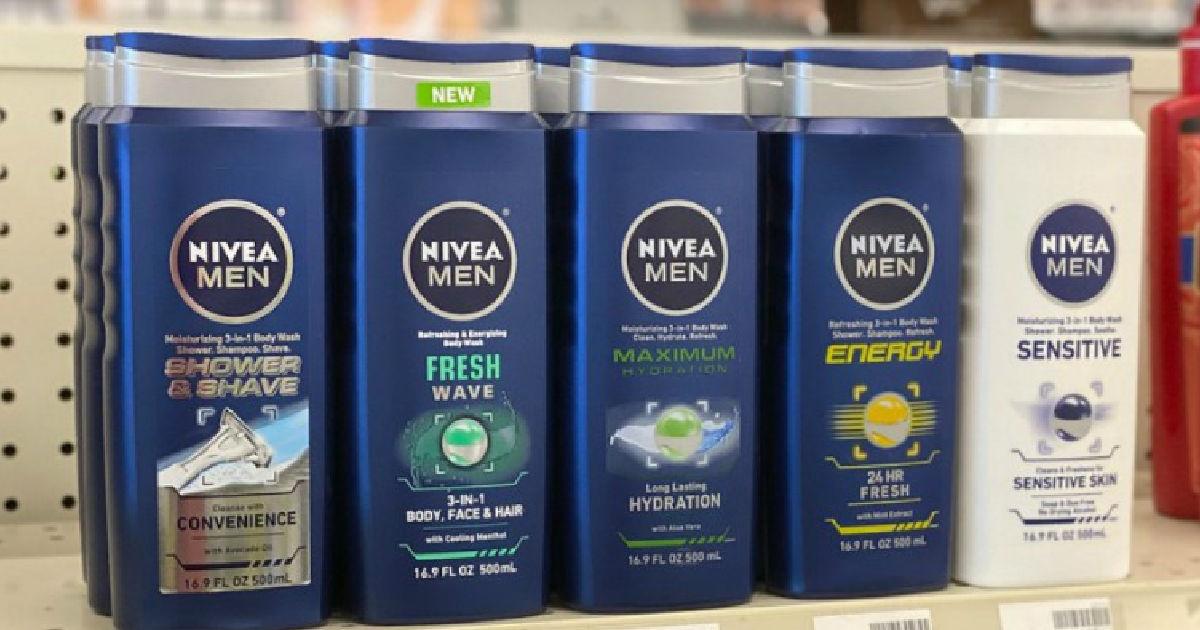 nivea body wash on shelf