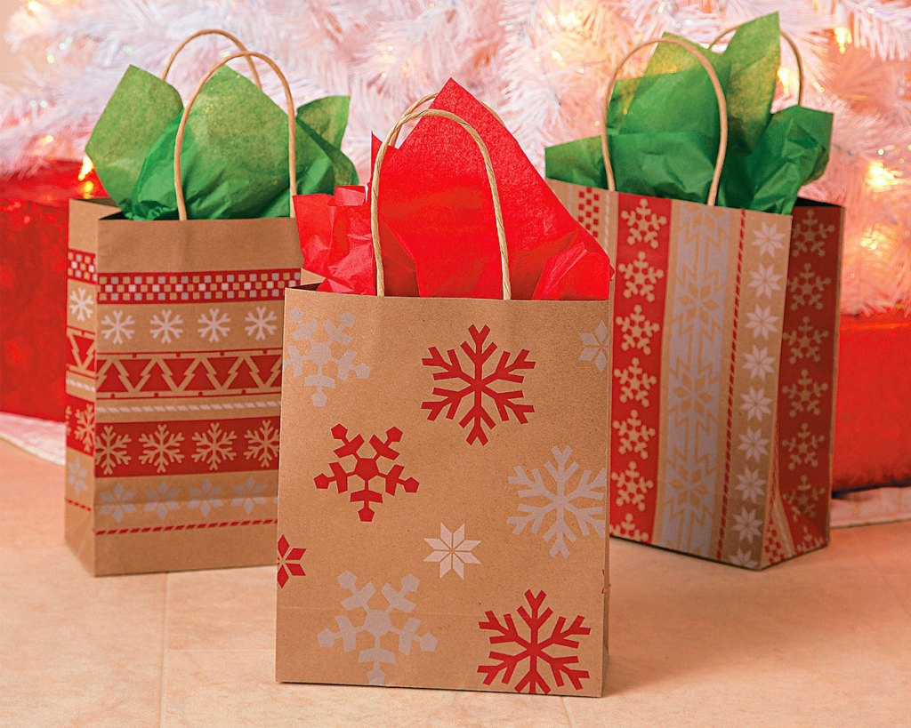 brown gift bags with snowflakes and red nordic prints