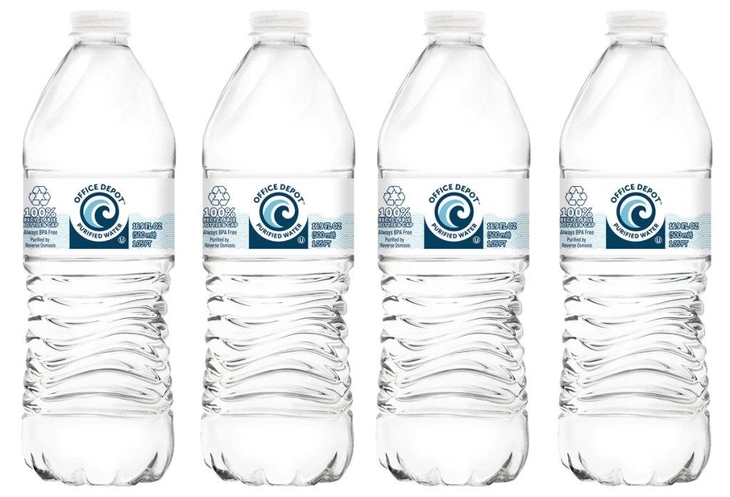 four bottles of office depot brand water