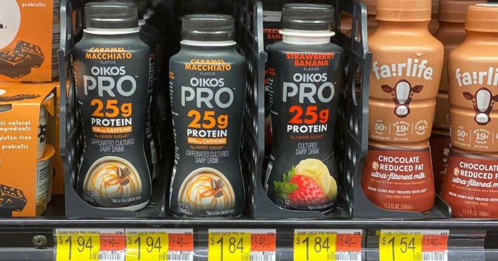 Walmart shelf with Oikos Pro yogurt drinks