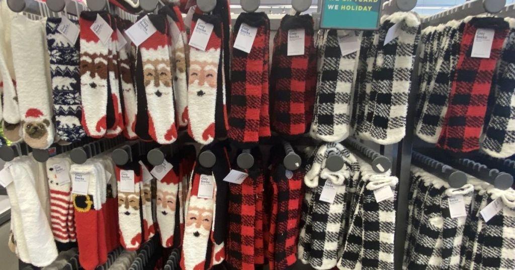 display of cozy socks at Old Navy