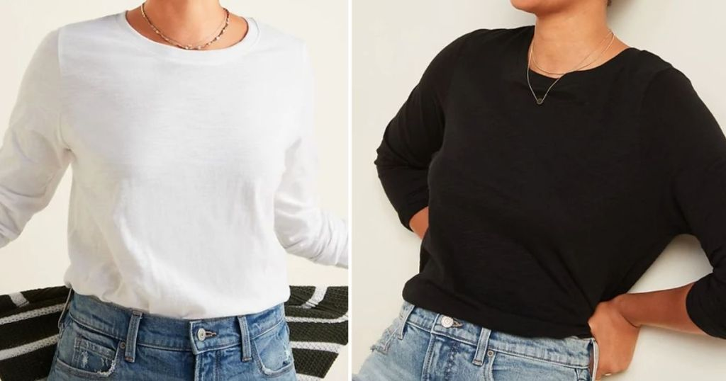 two women wearing long sleeve tees from Old Navy