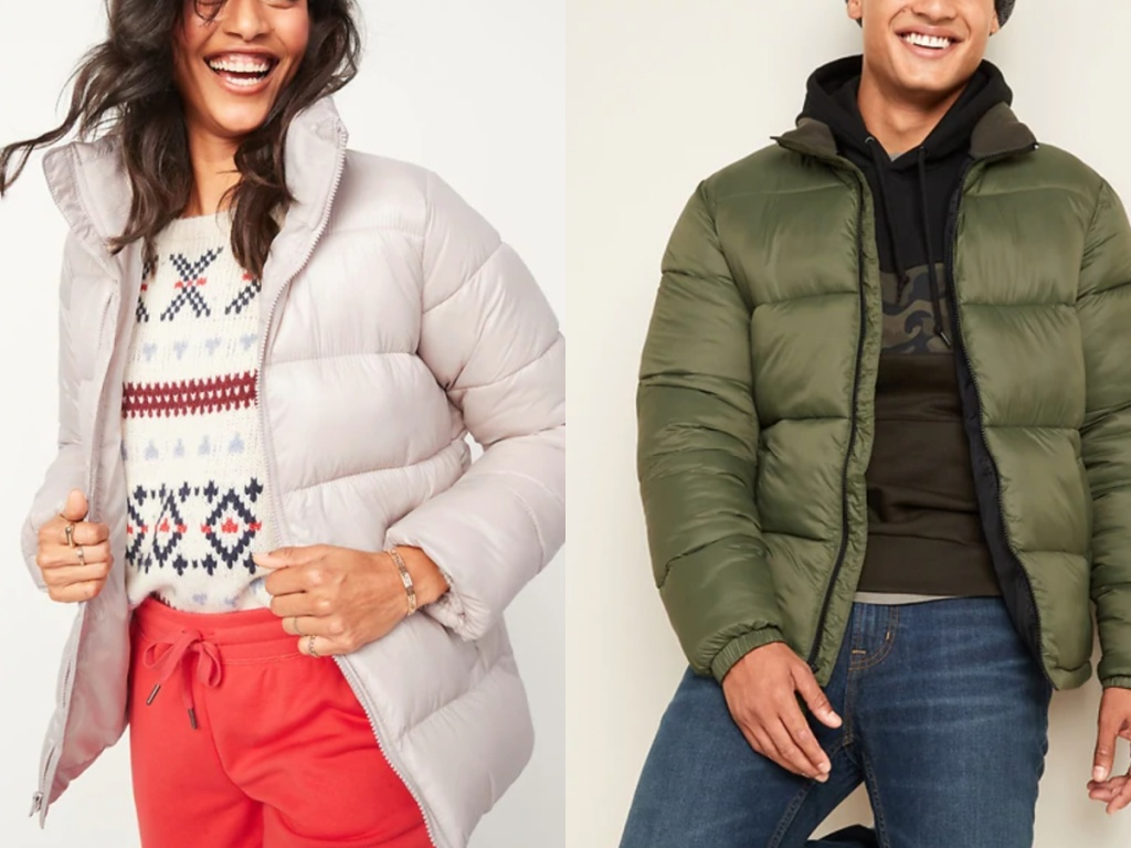 man and a woman wearing old navy puffer jackets