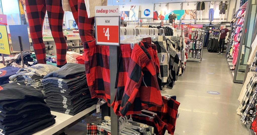 Old Navy Women in holiday Pajama Shorts at store