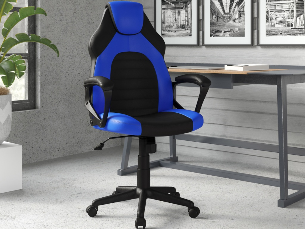 blue and black gaming chair sitting in an office next to a desk