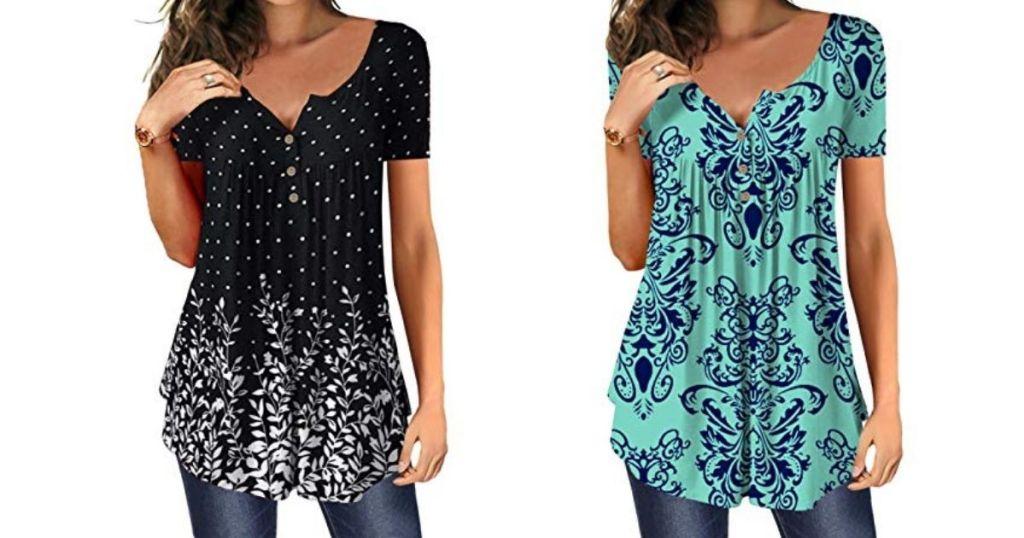 two women wearing short sleeve shirts