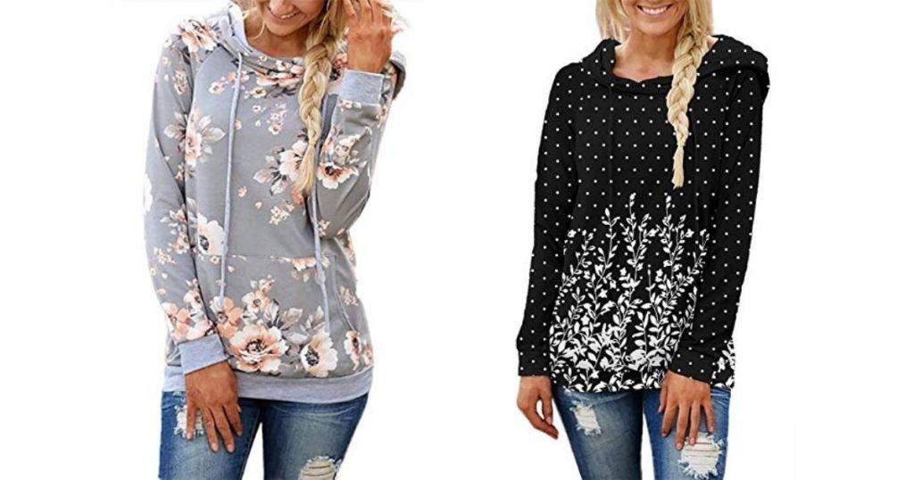 two women wearing sweatshirts