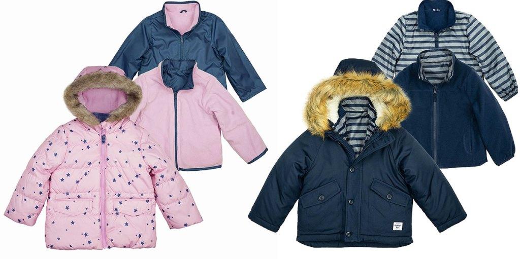 set of three light pink and navy blue kids oshkosh jackets