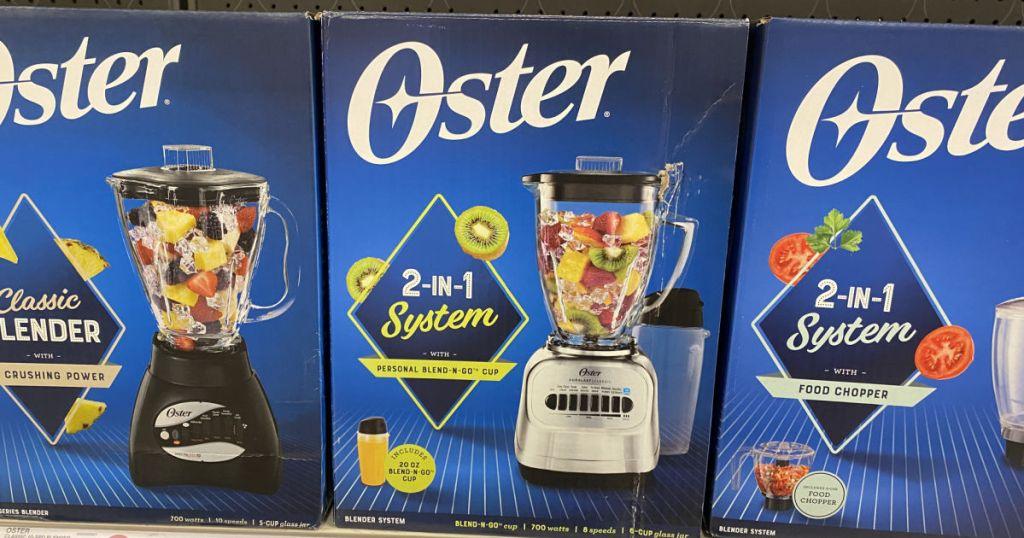 oster blender on shelf