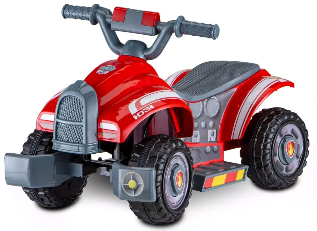 red and grey paw patrol themed kids ride-on quad toy