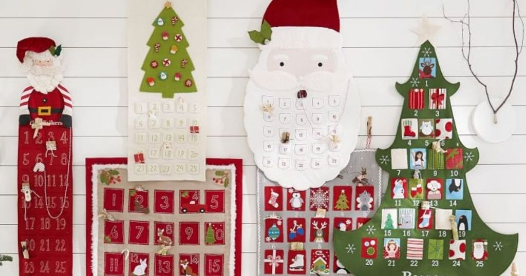 Pottery Barn Kids Advent Calendars hanging on a white wall