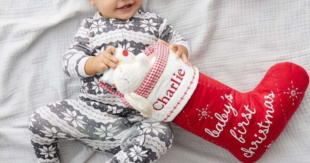 PBK baby's first christmas stocking with a baby