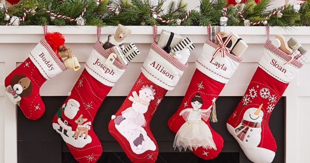 PBK Stockings hung on a fireplace