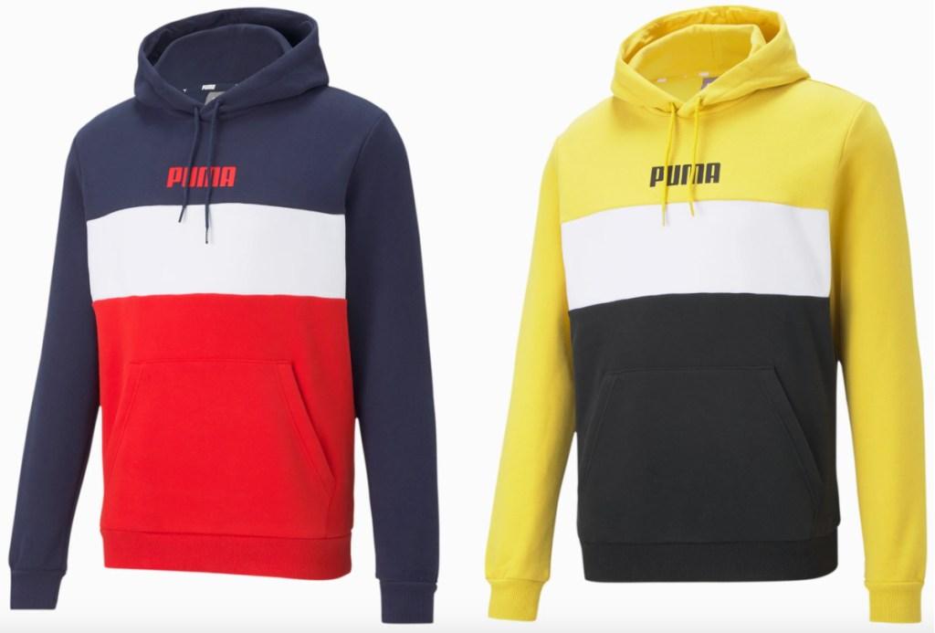 2 men's colorblock puma hoodies