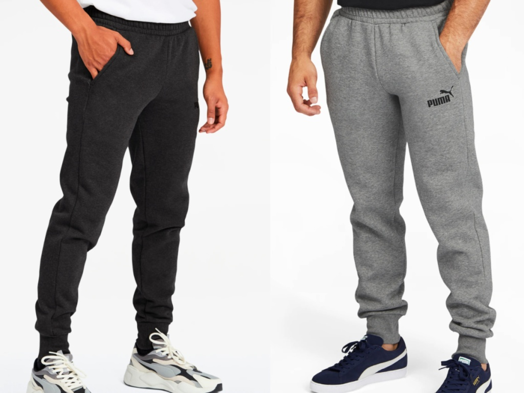 2 men wearing black and grey puma sweatpants