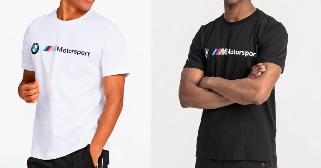 2 men wearing puma bmw t-shirts